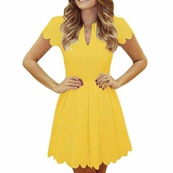 Cute V Neck Sweet Scallop Pleated Skater Dress