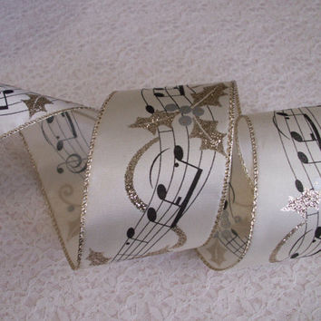 """Christmas Ribbon, Ivory with Black Music Notes & Gold Leaves, 2 1/2"""" Wide, Baskets, Bows, Wreaths, Home Decor, Ribbon Decorations, 5 YARDS"""