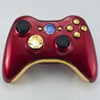 Iron Man (Chrome Red/Gold) Xbox 360 Modded Controller (Rapid Fire) COD Black Ops, MW2, MW3, MOD Gamepad LEDs