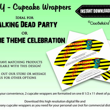 Printable Walking Dead Zombie Party Cupcake Wrappers - INSTANT DIGITAL DOWNLOAD