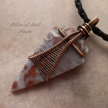 Arrowhead necklace, Wire wrapped pendant, Wire Wrapped jewelry handmade, rustic, copper jewelry, wire jewelry, boho jewelry, unisex necklace