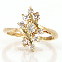 Vintage 14 Karat Yellow Gold Diamond Pinky Cluster Cocktail Ring Estate Jewelry