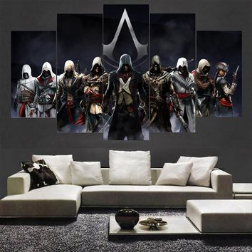Canvas Painting Picture Wall Art Home Decoration 5 Panel Movie Assassins Creed Character For Living Room Modern Printing Type