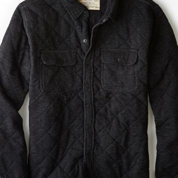 AEO Men's Vintage Quilted Fleece Jacket (Bold Black)