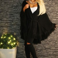 Wrapped Up Black Super Thick Batwing Cardigan   Pink Boutique