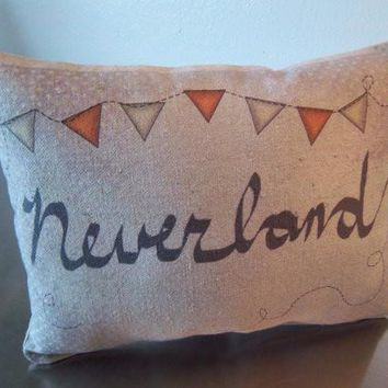 Neverland pillow book throw pillow Peter Pan nursery gift