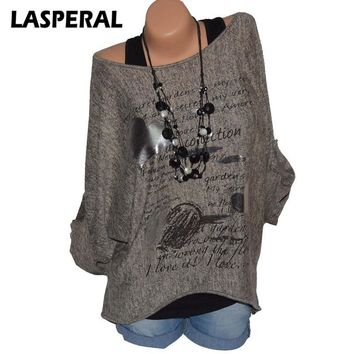 LASPERAL Women Long Sleeve T-shirt 2018 Spring Fashion Letter Print O Neck Casual Tee Shirts Female Blusa Top Plus Size 5XL 3XL