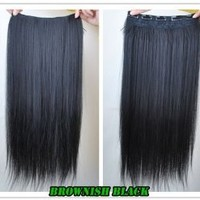 "8 Color 23"" Straight Full Head Clip in Hair Extensions Wwii101 (Brown Black)"