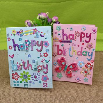10pcs/lot 3D Letters Handmade Music Birthday Greeting Card with Envelope Happy Birthday Gift To Friend Card Set Free Shipping