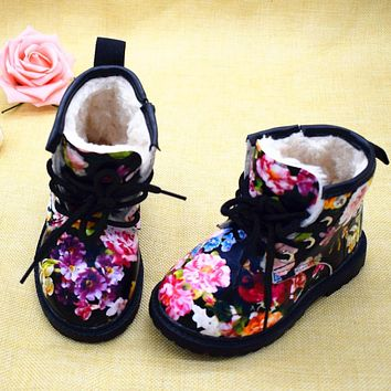 2018 Winter Children Warm Plush Girls Boots Elegant Charming Floral Flower Child Martin Boots Fashion Cute Kids Shoes For Girl