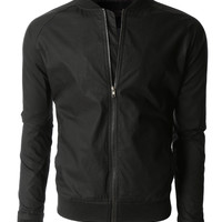LE3NO Mens Lightweight Windbreaker Fully Lined Zip Up Bomber Jacket (CLEARANCE)