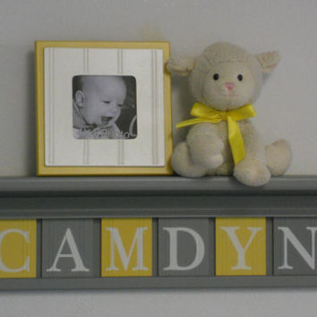 "Baby Boy Room Decoration Name Nursery Decor 24"" Shelf Gray and 6 Wooden Wall Block Letters Yellow and Gray - CAMDYN"