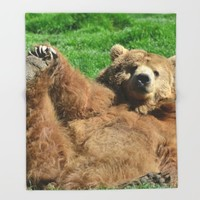 Yoga Bear Throw Blanket by RDelean