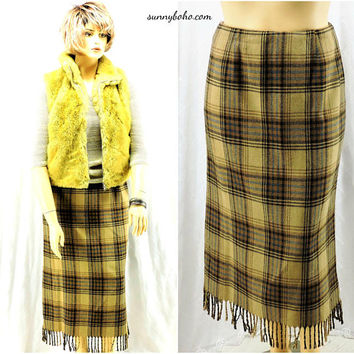 Fringed blanket skirt / size 11 / 12 / camel brown wool 80s skirt / plaid wool blend long maxi skirt / fully lined / Worthington