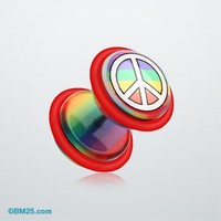 Peace Rainbow Acrylic Faux Gauge Plug Earring