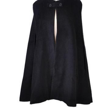 Button Front Cape - Black
