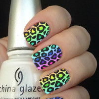 Full Rainbow Animal Print Nail Art Decals Nail Stickers