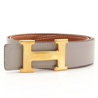 AUTHENTIC HERMES CONSTANCE LEATHER H BELT BROWN GREY GRADE AB USED -AT