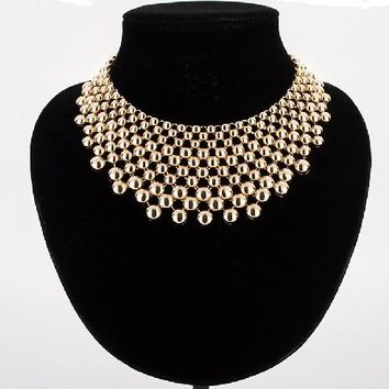 "16"" gold multi layered metal choker bib necklace 2.50"" wide"