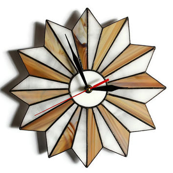 Rustic Clock, Rustic Decor, Rustic Home Decor, Midcentury Modern Starburst Clock wood brown, Unique Stained Glass Mid Century Modern Art