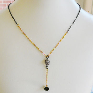 "Diamond Pendant Necklace, Oxidized Sterling Silver 18"" 14kt Gold Filled, Genuine Diamonds, Antiqued"