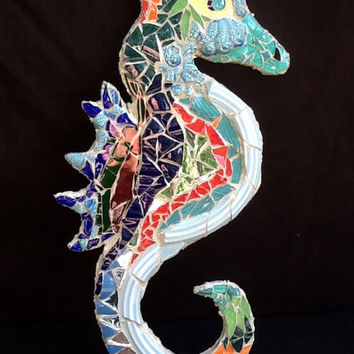 Sea Horse Mosaic Wall Hanging OOAK Handmade Beach Cottage Decor , Tropical