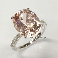 Ready to Ship - Oval Morganite Engagement Ring Pave  Diamond Wedding 14K White Gold 10x12mm