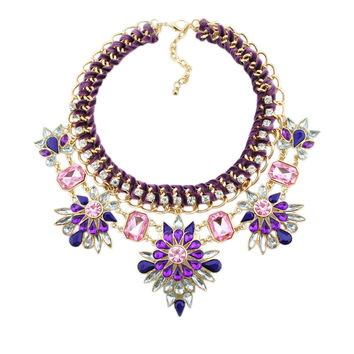 Vintage Crystal Floral Chain Choker Necklace