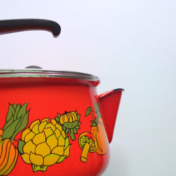Vintage Orange Enamel Veggie Pattern Kettle 1960s
