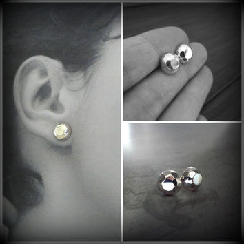 Sterling Silver Solid Faceted Large Studs, Gem Look, Statement Classic Gem Like Studs