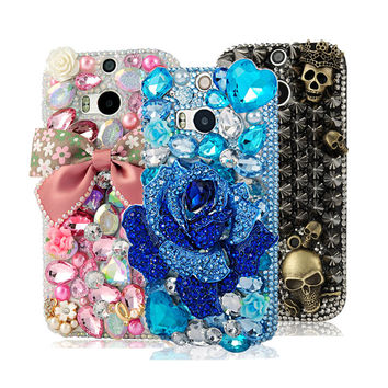 Handmade Floral Bow Crystal Bling Phone Case for HTC