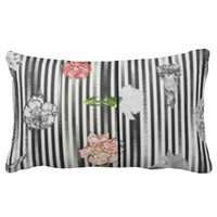 Beautiful grey pillow with flowers