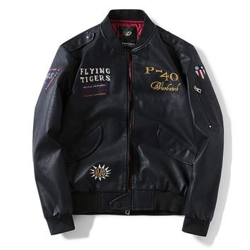 Fashion Bomber Jackets Men Embroidery Windbreaker Faux Leather Bomber Jacket Male Flying Tigers Military Coat