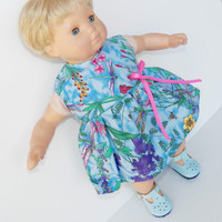 "Clothes Blue Pink Floral Dress Handmade for 18"" american girl or 15"" bitty baby"