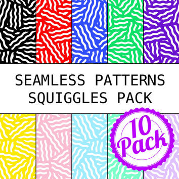 Printable Seamless Patterns - 90s Squiggles Pack - Digital Scrapbook Paper