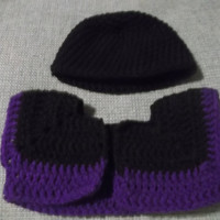 Amethyst Purple and Black Crochet Bolero Jacket Halter Dress and Hat for Newborn Infant Girl 0 to 3 months Free Shipping