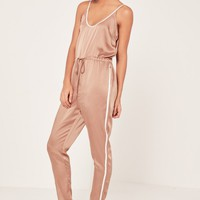 Missguided - Rose Gold Satin Sports Striped Strappy Jumpsuit