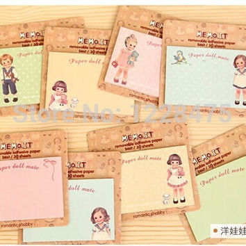 1pcs lot NEW paper doll girl Notepad sticky note Memo message post Notepad School Office Supply Escolar Papelaria Gift
