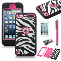 ULAK Zebra Combo Hard Soft High Impact Case Skin Gel for Apple iPod Touch 5 Generation (Zebra/Rose Pink) (Robot Guard-Zebra/Rose Pink)