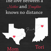 SALE Chalkboard Mom Print- long distance love, gift for mom, Mother's Day print, personalized map, going away gift, gift for dad