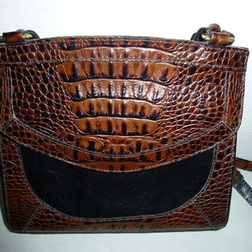 Vintage Brahmin Black and Brown Moc Croc Trim Cross Body Bag Purse