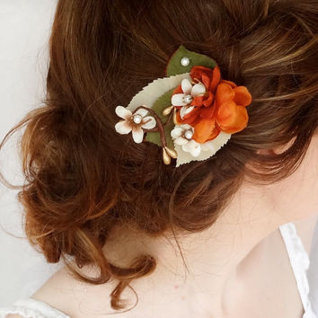 fall hair accessories, burnt orange flower hair clip, bridal hair accessory - LEAFLET - rustic wedding, flower girl