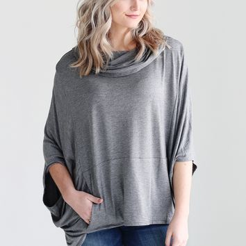 Dark Heather Gray DLMN Hooded Poncho