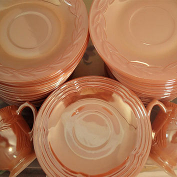 Fire King Luster Ware Marigold Peach Luster Laurel saucers, Lustre Ware sugar and creamer, 3 Bands Peach Lustre saucers