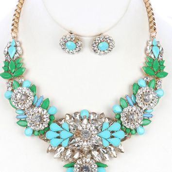 Turquoise Color And Clear Lucite Cluster Chunky Bib Necklace And Earring Set