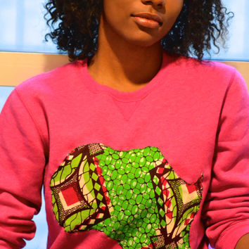 Women's Pink and Ankara Crew Sweatshirt