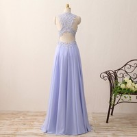 Long Evening Dresses Scoop Sleeveless Cover Back Floor length Chiffon Appliques Formal Dress Party Gowns