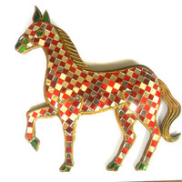 """Mosaic Horse Glass Art Multicolor Handmade Mirror Mosaics Art Home Decor Handcrafted Hand Carved Wood Gift 10.5""""x9.5"""""""