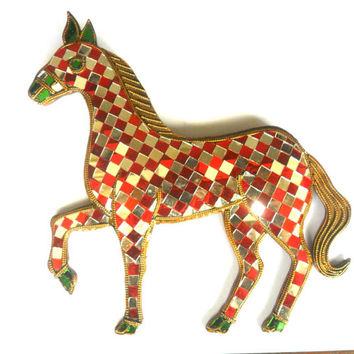 "Mosaic Horse Glass Art Multicolor Handmade Mirror Mosaics Art Home Decor Handcrafted Hand Carved Wood Gift 10.5""x9.5"""