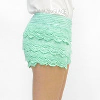 RESTOCK Mint Tastic Lace Crochet Layered Doll Shorts
